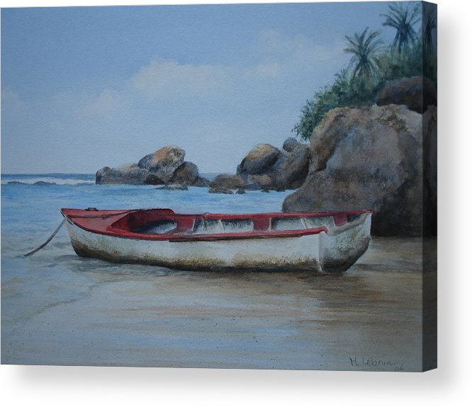 Landscape Acrylic Print featuring the painting Seychelles Memories by Maruska Lebrun