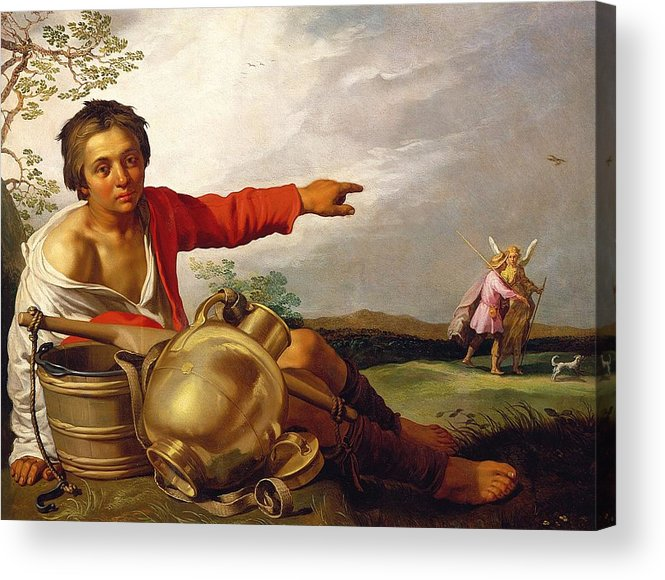 Pointing Acrylic Print featuring the painting Shepherd Boy Pointing At Tobias And The Angel by Abraham Bloemaert