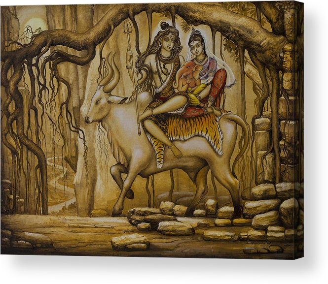 Shiva Acrylic Print featuring the painting Shiva Parvati Ganesha by Vrindavan Das