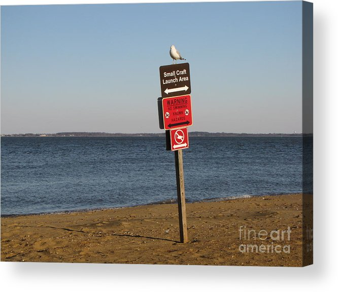 Schuminweb Acrylic Print featuring the photograph Signage On The Beach At Sandy Point by Ben Schumin