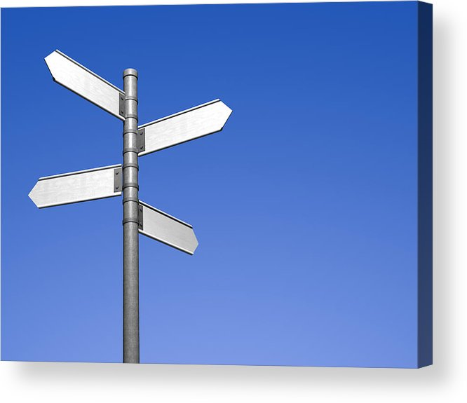 Signpost With Four Blank Street Signs Acrylic Print