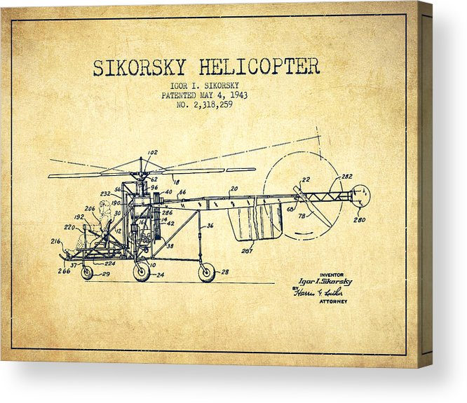 Helicopter Acrylic Print featuring the digital art Sikorsky Helicopter Patent Drawing From 1943-vintgae by Aged Pixel