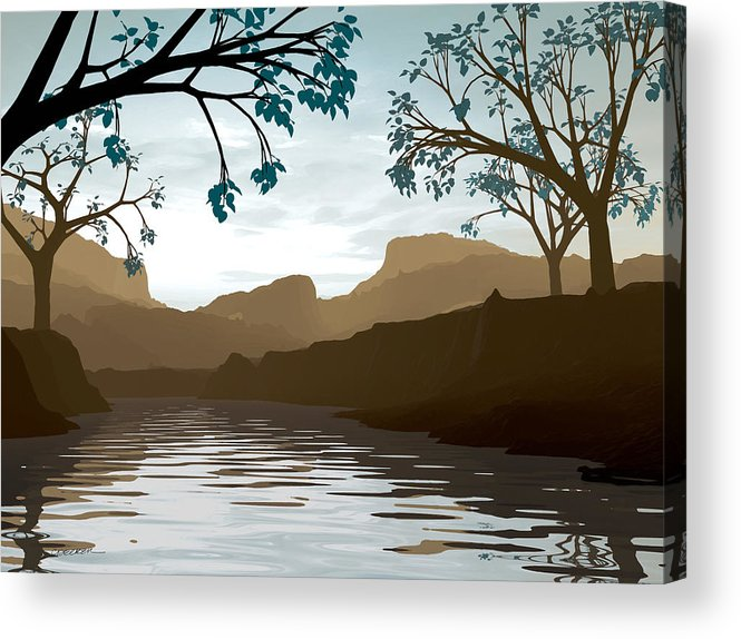 Brown Acrylic Print featuring the digital art Silkscreen by Cynthia Decker