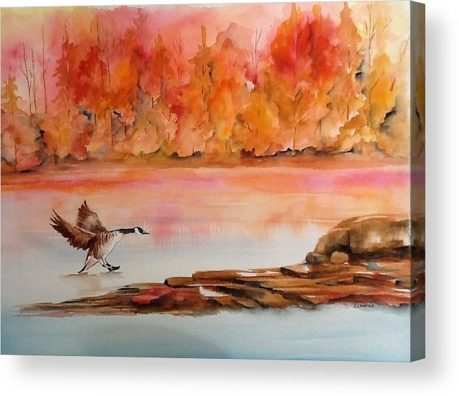 Autumn Acrylic Print featuring the painting Skid by Ellen Canfield