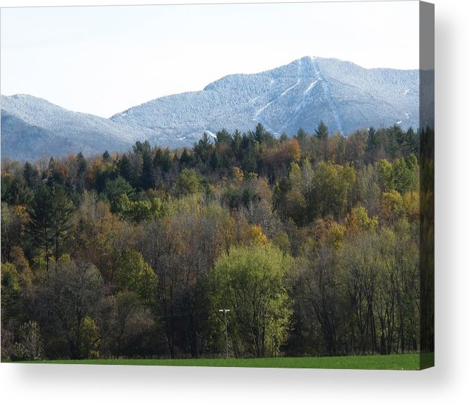 Mountain Acrylic Print featuring the photograph Smugglers Notch From Cambridge Vermont by Barbara McDevitt