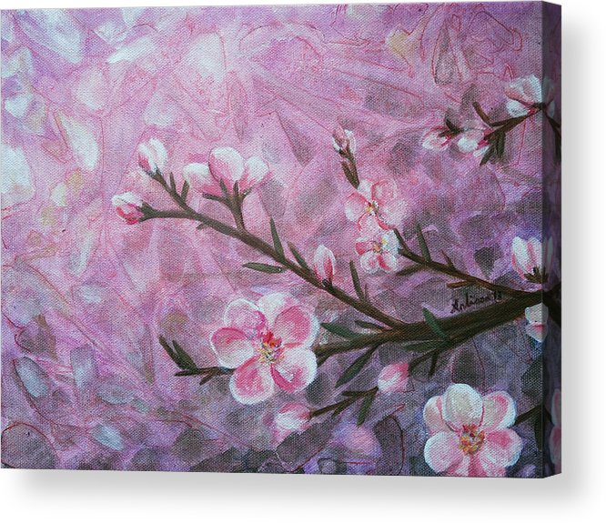 Blossom Acrylic Print featuring the painting Snow Blossom by Arlissa Vaughn