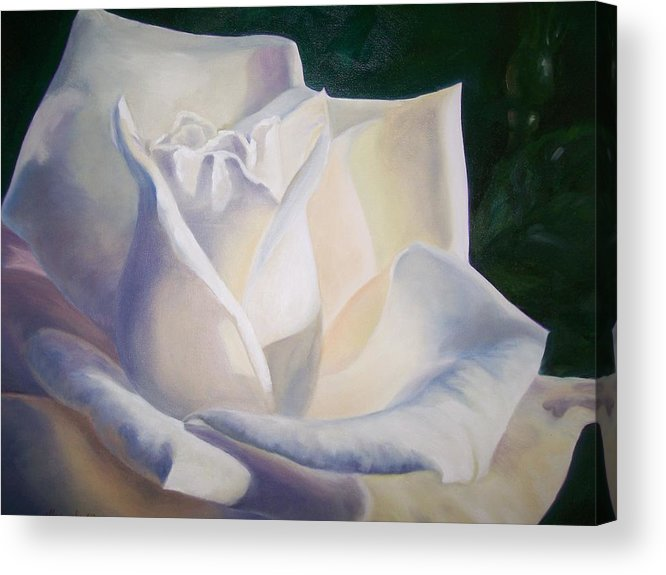 Close Up Floral White Rose Acrylic Print featuring the painting Snow White by Ellen Ebert