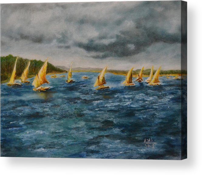 Nile Acrylic Print featuring the painting Storm On The Nile by Carol Sheli Cantrell