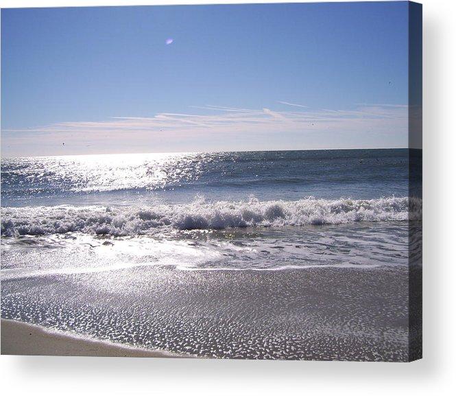 Ocean Acrylic Print featuring the photograph Sun Diamonds On The Surf by Terry Cobb