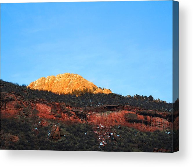Mountain Sunset Acrylic Print featuring the photograph Sunset On Horsetooth Mountain by Ric Soulen