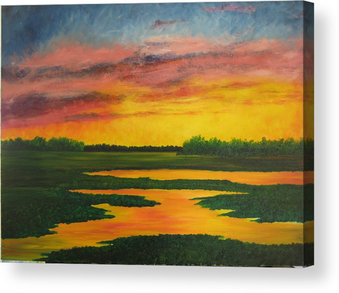 Water Acrylic Print featuring the painting Sunset On The Marsh by Darla Brock