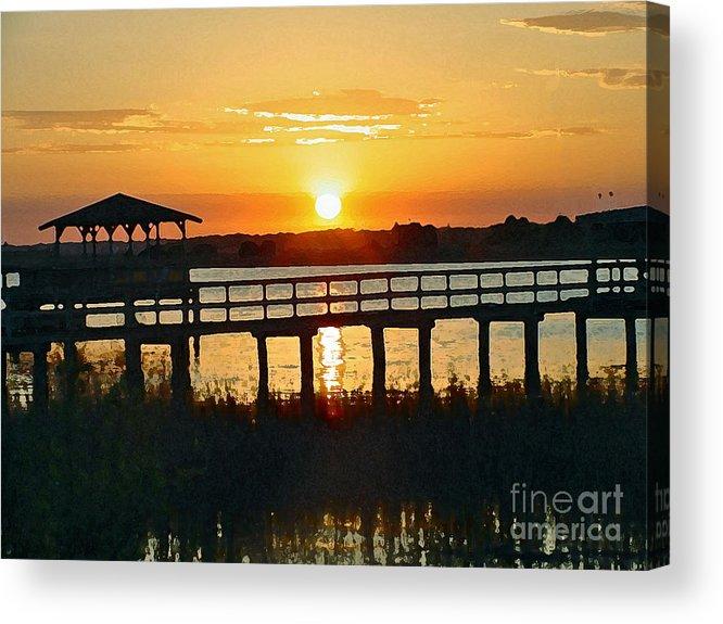 Isle Of Palm Acrylic Print featuring the digital art Sunset On The Palm by Regina Barton