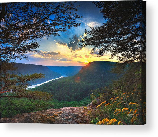 Chattanooga Acrylic Print featuring the photograph Sunset Over Edwards Point by Steven Llorca
