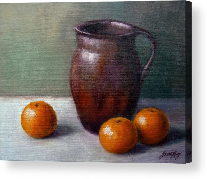 Tangerine Acrylic Print featuring the painting Tangerines by Janet King