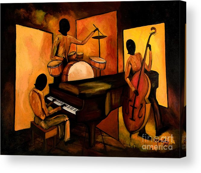 Jazz Acrylic Print featuring the painting The 1st Jazz Trio by Larry Martin