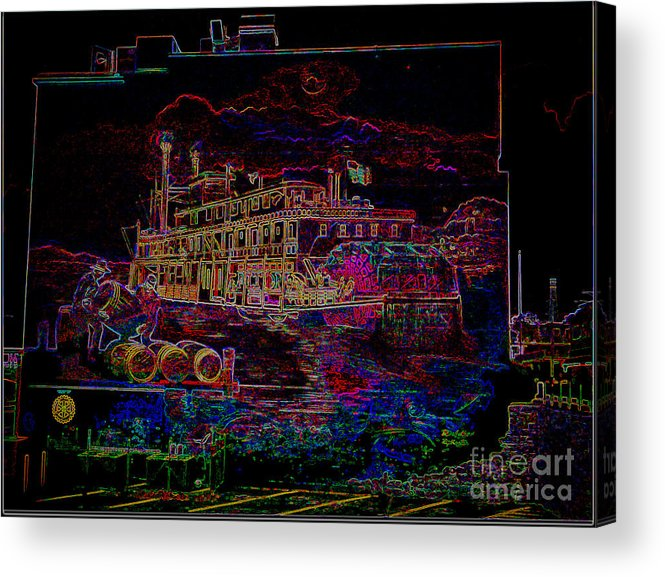 Acrylic Print featuring the photograph The Alton Belle In Neon by Kelly Awad