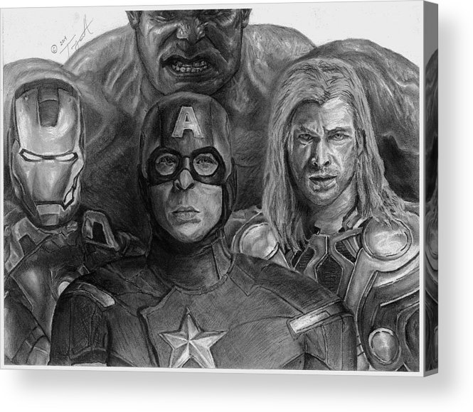 The Avengers Acrylic Print featuring the drawing The Aveners Drawing by Tony Orcutt