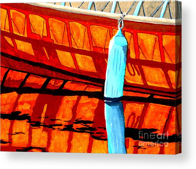 Canoe Acrylic Print featuring the painting The Blue Fender by Anthony Dunphy
