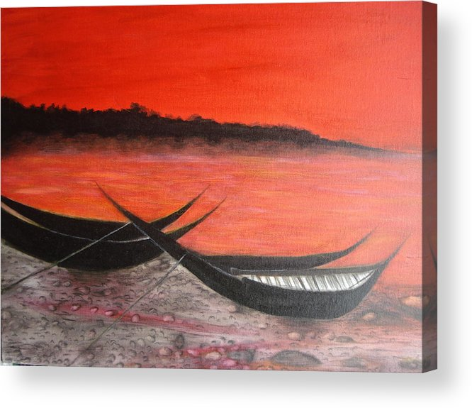 Boats Acrylic Print featuring the painting The Farewell Songs Part 1 by Prasenjit Dhar