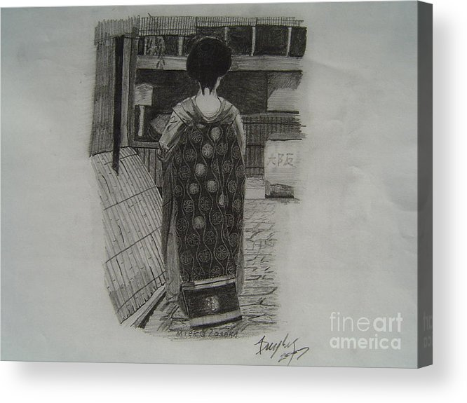 Geisha Acrylic Print featuring the drawing The Geisha by Anthony Dunphy