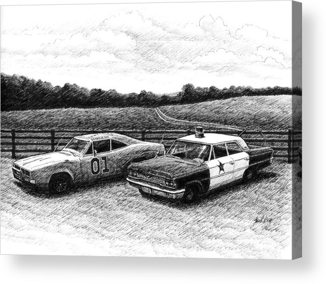 The General Lee Acrylic Print featuring the drawing The General Lee And Barney Fife's Police Car by Janet King