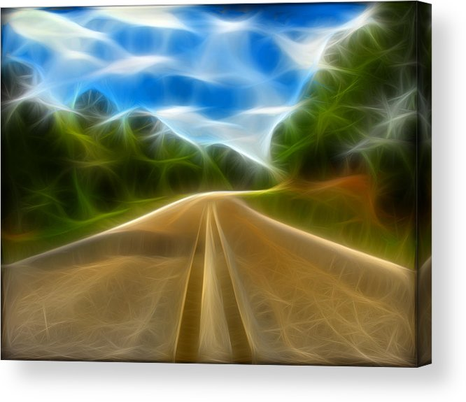 Road Acrylic Print featuring the digital art The Journey by Wendy J St Christopher