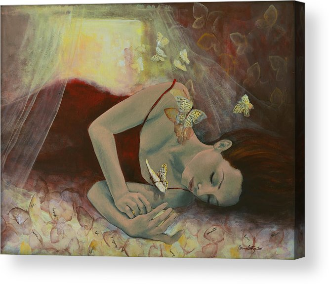 Butterflies Acrylic Print featuring the painting The Last Dream Before Dawn by Dorina Costras