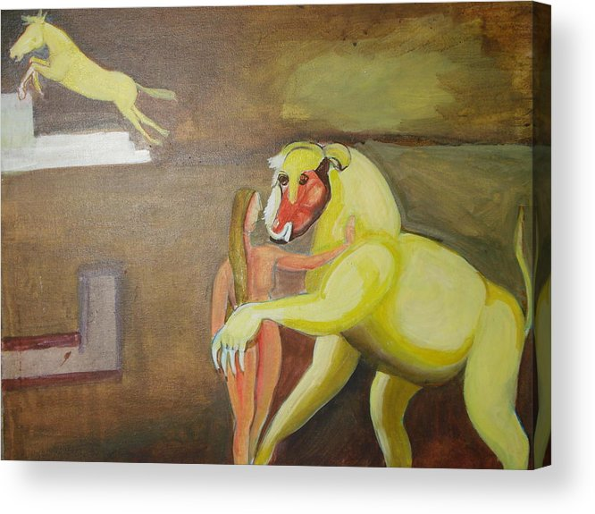 Horse Acrylic Print featuring the painting The Play by Prasenjit Dhar