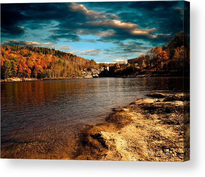 Clouds Acrylic Print featuring the photograph The Pool Below Upper Falls Rumford Maine by Bob Orsillo