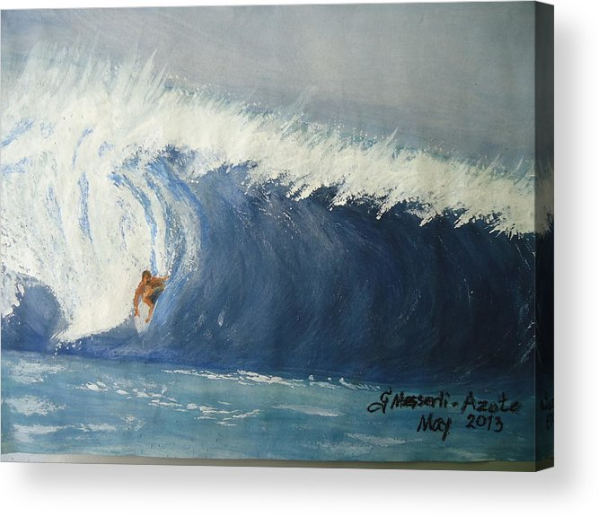 Waves Acrylic Print featuring the painting The Surfing by Fladelita Messerli-