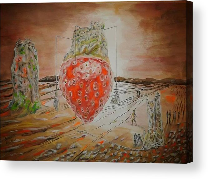 Strawberry Acrylic Print featuring the painting The Way To Strawberry Meteora by Esztella Sandor