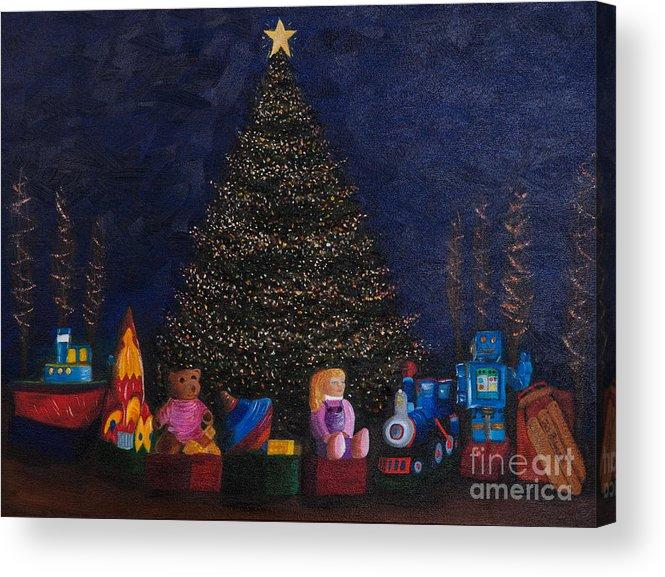 Iris Holzer Richardson Acrylic Print featuring the painting Christmas Toys by Iris Richardson