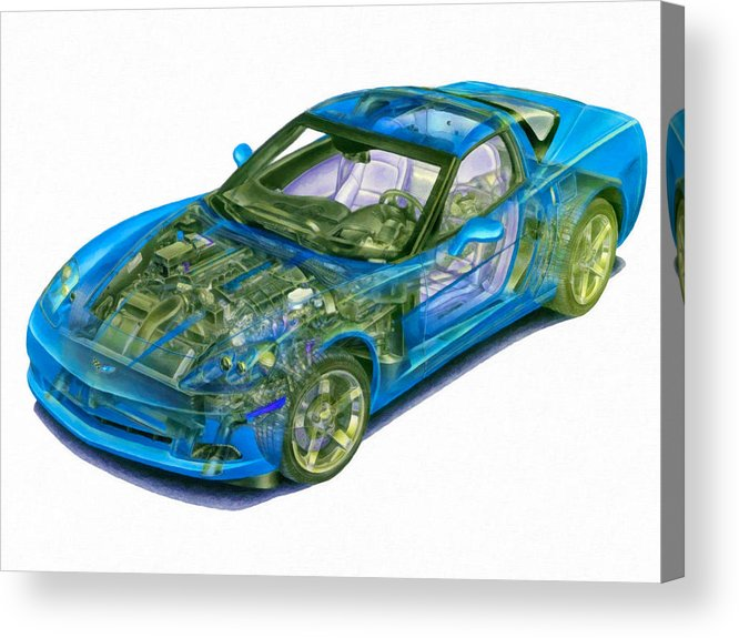 Car Acrylic Print featuring the painting Transparent Car Concept Made In 3d Graphics 11 by Jeelan Clark