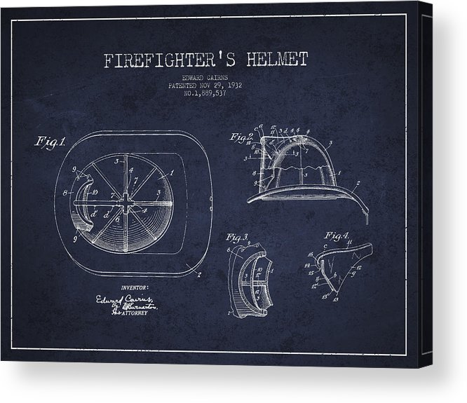 Firefighter Acrylic Print featuring the digital art Vintage Firefighter Helmet Patent Drawing From 1932 - Navy Blue by Aged Pixel