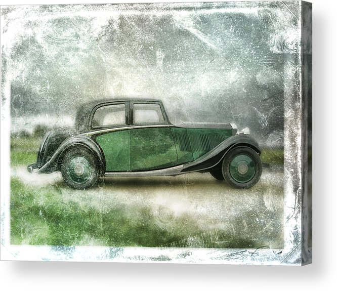 Vintage Acrylic Print featuring the digital art Vintage Rolls Royce by David Ridley