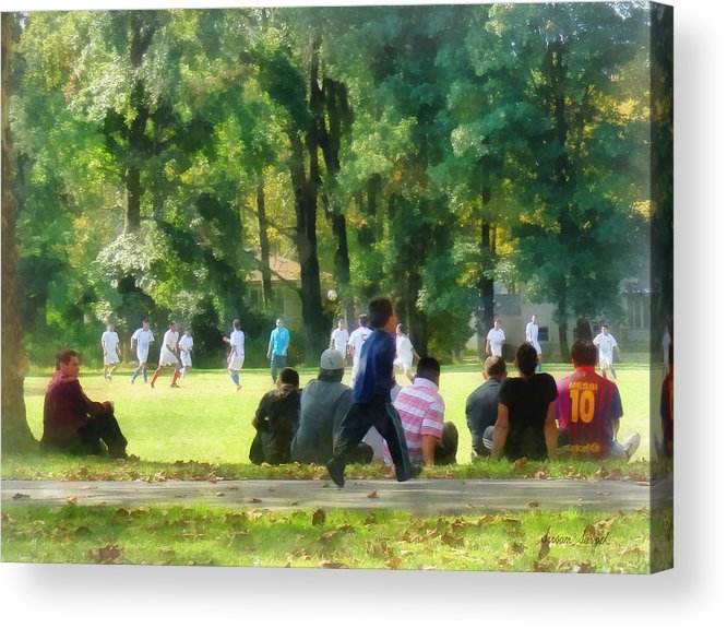 Man Acrylic Print featuring the photograph Watching The Soccer Game by Susan Savad