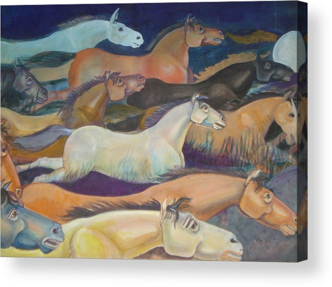 Horses Acrylic Print featuring the painting Wild Racers by Prasenjit Dhar