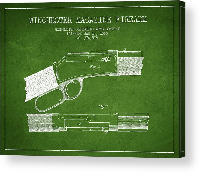 Winchester Acrylic Print featuring the digital art Winchester Firearm Patent Drawing From 1888- Green by Aged Pixel
