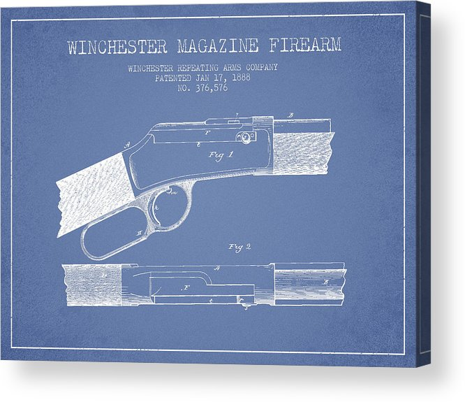 Winchester Acrylic Print featuring the digital art Winchester Firearm Patent Drawing From 1888- Light Blue by Aged Pixel