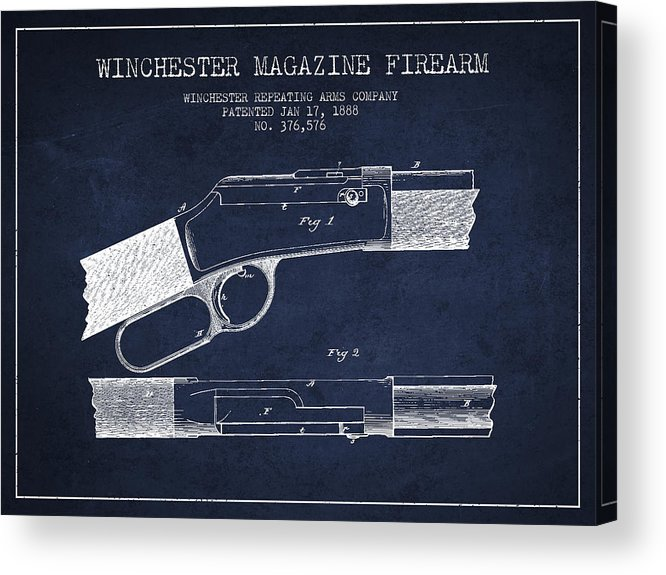 Winchester Acrylic Print featuring the digital art Winchester Firearm Patent Drawing From 1888- Navy Blue by Aged Pixel