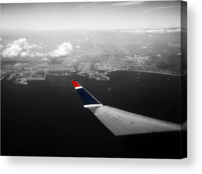 Long Beach Acrylic Print featuring the photograph Wing Tip View Over Long Beach Ca Sc by Thomas Woolworth
