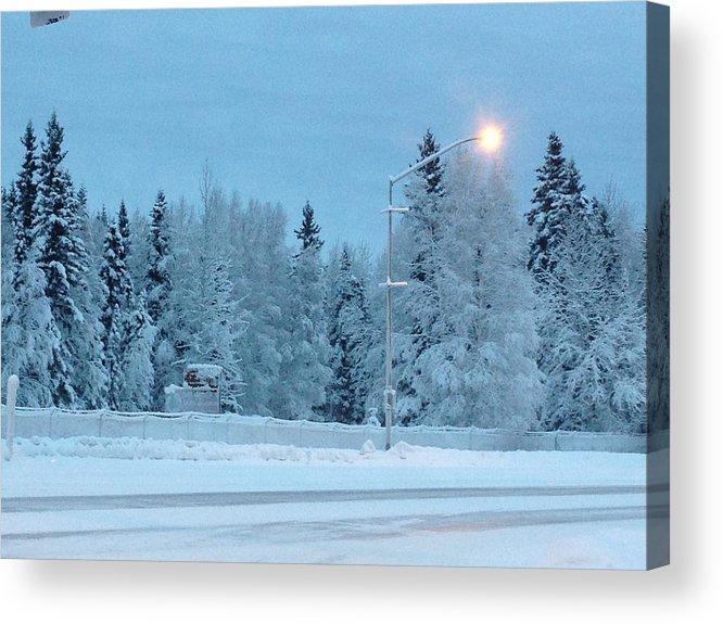 Blue Sky Acrylic Print featuring the photograph Wintery Blues by Malia Johnson