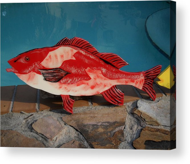 Fish Acrylic Print featuring the mixed media Wooden Red Snapper by Val Oconnor