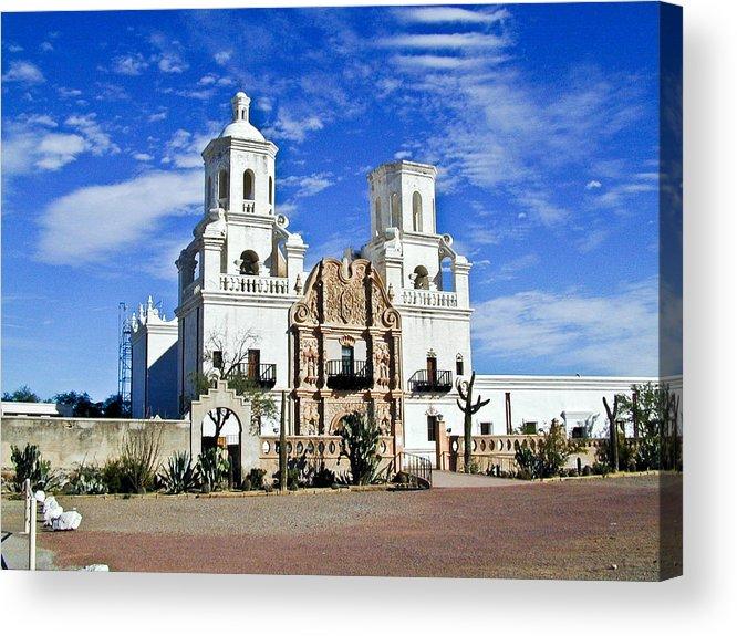 Mission San Xavier Del Bac Acrylic Print featuring the photograph Xavier Tucson Arizona by Douglas Barnett