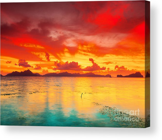 Sunset Acrylic Print featuring the photograph Fantasy Sunset by MotHaiBaPhoto Prints