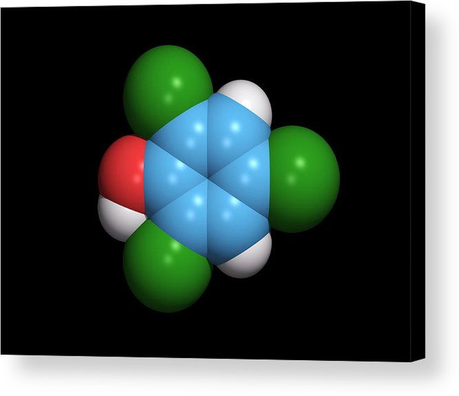2 Acrylic Print featuring the photograph Molecule Of A Component Of Tcp Antiseptic by Dr Tim Evans