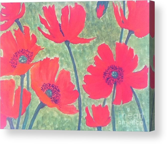 Poppies Acrylic Print featuring the painting Red Poppies by Berta Barocio-Sullivan