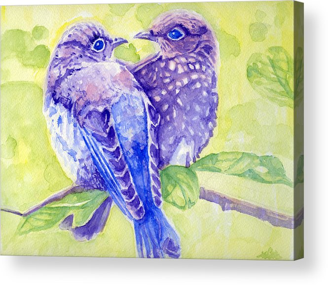 Birds Acrylic Print featuring the painting Springtime Is For Love by Karen Clark