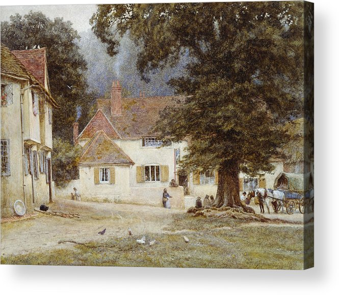 Landscape; English; Green; Pub; Public House; Rural; Victorian Acrylic Print featuring the painting A Cart By A Village Inn by Helen Allingham