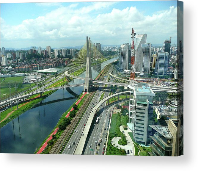 Horizontal Acrylic Print featuring the photograph Aerial View Of Bridge Estaiada by Felipe Borges
